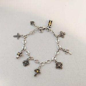 """Brighton Multiple Crosses Charm Bracelet 8"""""""